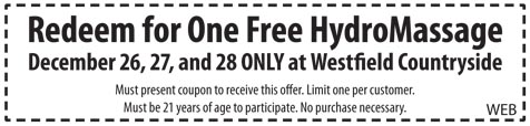 Coupon for Free HydroMassage at Westfield Countryside Dec. 26- 28th