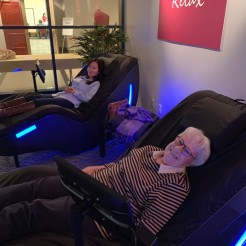 Grandma and granddaughter enjoy a massage